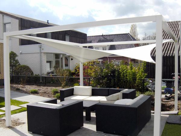 Loungeoverkappingen buitink zonwering rolluiken garagedeuren en terra - Tent voor terras ...